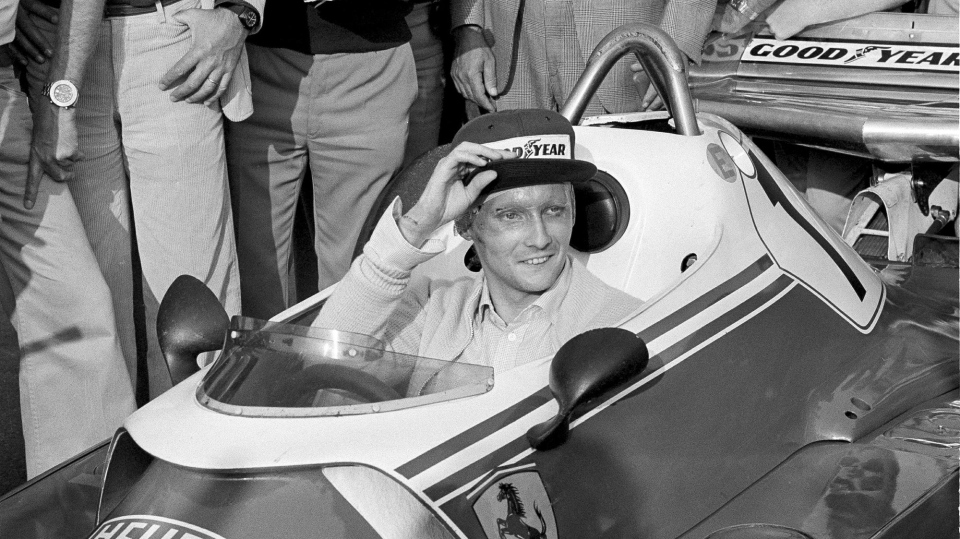 FILE - In this Sept. 7, 1976 file photo Austria's Niki Lauda behind the wheel of his Ferrari 312 T2 on the track of Florano after a near fatal crash on Aug. 1 during the German Grand Prix. (AP Photo/Raoul Fornezza, File)