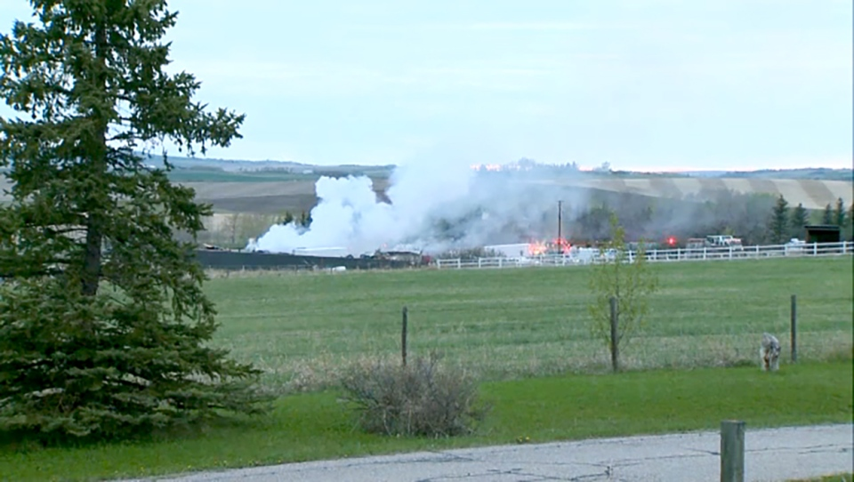 A man was seriously injured in a natural gas explosion near De Winton.