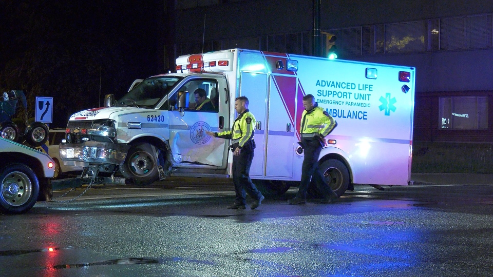 Police respond to a crash involving an advanced life support ambulance near Vancouver General Hospital on May 20, 2019.