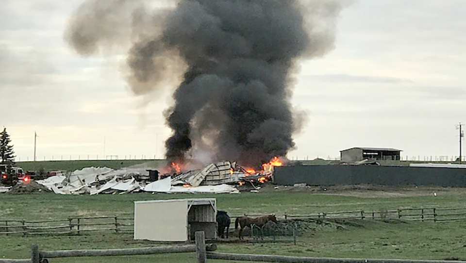Smoke could be seen for several kilometres after a natural gas explosion near De Winton. (Submitted by Lee-Anne Thornton)