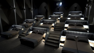 "The VIP ""bedroom cinema"" in Switzerland offers 11 double beds complete with adjustable headrests, sheets, and pillows. (Pathe Suisse SA)"