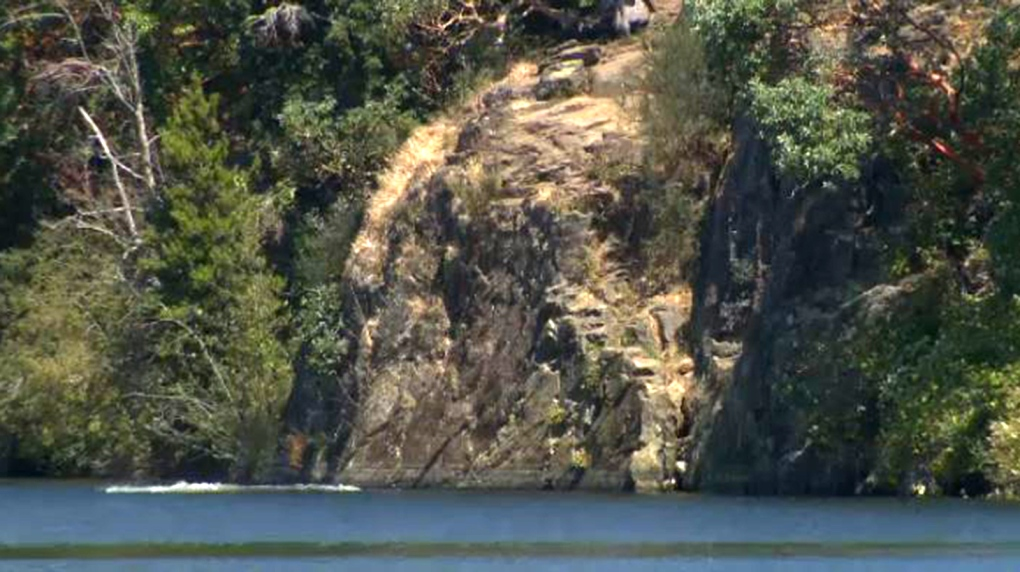Woman injured after being pushed off cliff into lake near Victoria