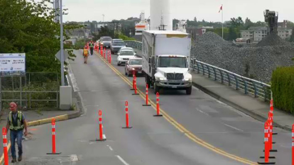 The Bay Street Bridge was shut down to eastbound traffic for a construction project expected to last at least five months. Tues., May 21, 2019. (CTV Vancouver Island)
