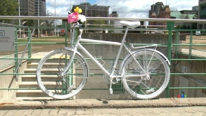 Ghost Bike installed in Ottawa