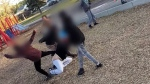 Saskatoon police are investigating a disturbing video that appears to show a group of young boys swarm and repeatedly attack a woman at a park playground.