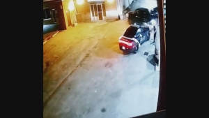 Surveillance video of a truck crashing into a building in Barrie on Sat. May 18, 2019.