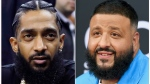 This combination photo shows rapper Nipsey Hussle at an NBA basketball game between the Golden State Warriors and the Milwaukee Bucks in Oakland, Calif. on March 29, 2018, left, and DJ Khaled at the Billboard Music Awards in Las Vegas on May 20, 2018. (AP Photo)