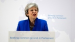 Britain's Prime Minister Theresa May delivers a speech in London, Tuesday, May 21, 2019. (AP Photo/Kirsty Wigglesworth, pool)