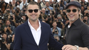 Leonardo DiCaprio, left, and Brad Pitt in Cannes