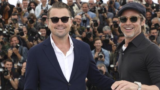 Leonardo DiCaprio, left, and Brad Pitt in Cannes