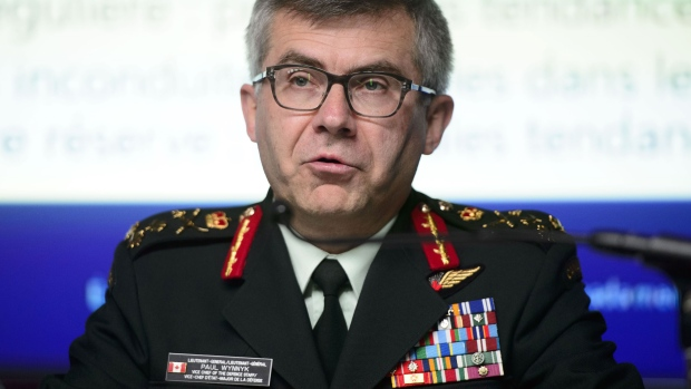 Lieutenant-General Paul Wynnyk, Vice Chief of the Defence Staff, speaks as he joins other representatives from the Department of National Defence and Statistics Canada to hold a news conference to address the findings in the 2018 Statistics Canada Survey on Sexual Misconduct in the Canadian Armed Forces at National Defence Headquarters in Ottawa on Wednesday, May 22, 2019. THE CANADIAN PRESS/Sean Kilpatrick