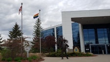 A Pride flag flies at the WRPS headquarters