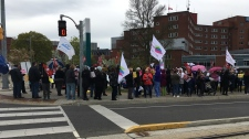 Protesters outside Grand River Hospital