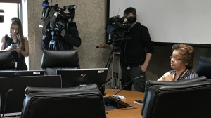 The mother of the dogs' owner speaks to councillors during the appeal hearing. (Source: Josh Crabb/CTV News)