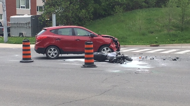 Motorcyclist seriously injured after intersection crash