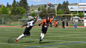 Players battle for a spot on the BC Lions in the team's annual Kamloops training camp. (Christina Heydanus / CTV News Vancouver)