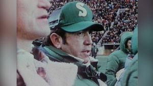 John Payne during his time as head coach of the Saskatchewan Roughriders. (File)