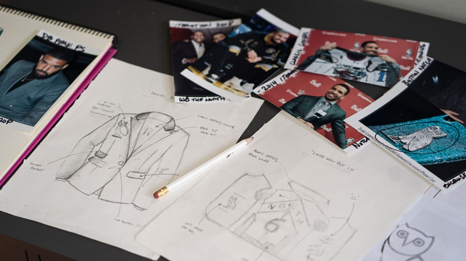 The designs for Drake's diamond-encrusted Raptors jacket are seen in this undated photograph.