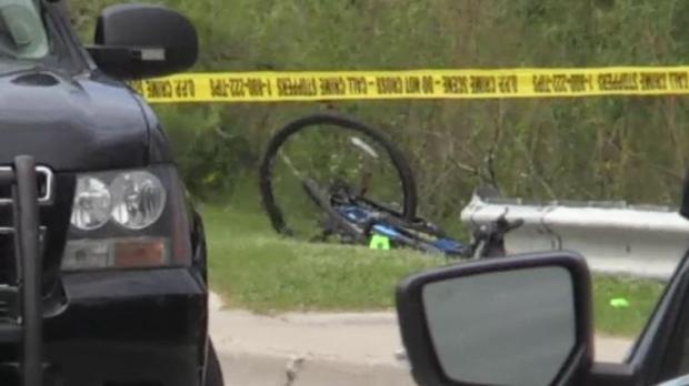 OPP investigate a fatal crash involving a cyclist on Broadway Street in Tillsonburg, Ont., Tuesday, May 21, 2019. (Wayne Jennings / CTV London)