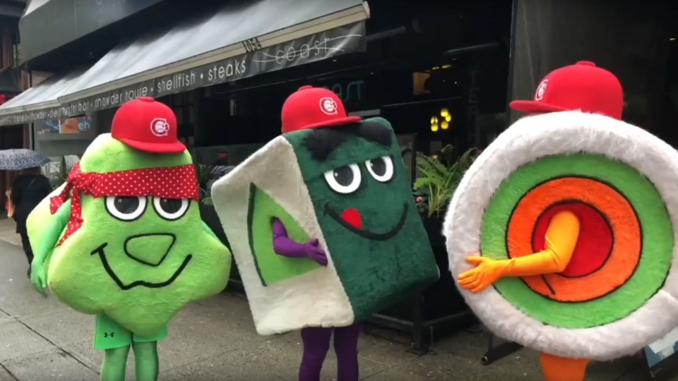 Canadians fans are familiar with these three mascots: Ms. BC Roll, Mr. Kappa Maki and Chef Wasabi.