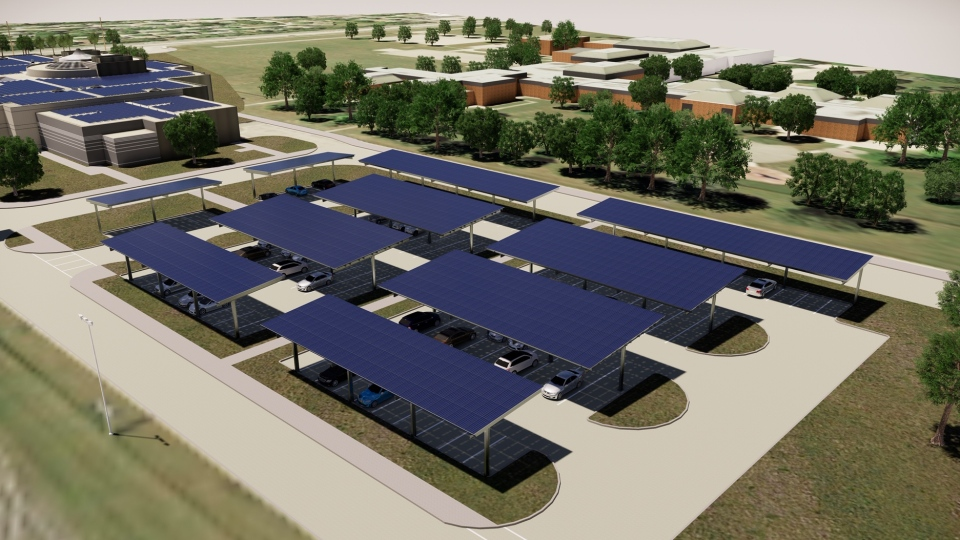 An artist's rendition shows what John Paul II Catholic Secondary School in London, Ont. will look like after a new clean energy system is installed.