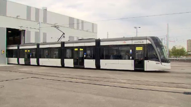 Metrolinx unveils one of the first six light rail vehicles to be used on the Eglinton Crosstown LRT on May 22, 2019.