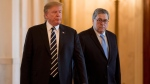 U.S. President Donald Trump and Attorney General William Barr arrive for a Public Safety Officer Medal of Valor presentation ceremony in the East Room of the White House in Washington, Wednesday, May 22, 2019.(AP Photo/Andrew Harnik)