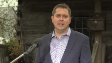 Federal Conservative Leader Andrew Scheer announces his plan to combat human trafficking in Aylmer, Ont. on Wednesday, May 22, 2019.