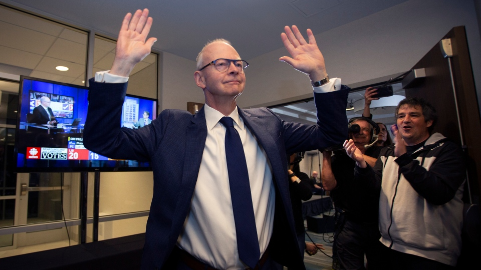 Progressive Conservative Leader Ches Crosbie Ches Crosbie addresses supporters in St. John's on Thursday, May 16, 2019. THE CANADIAN PRESS/Paul Daly