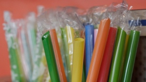 FILE - July 17, 2018 file photo of wrapped plastic straws (AP Photo/Jeff Chiu, File)