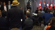 Trudeau event interrupted by protester