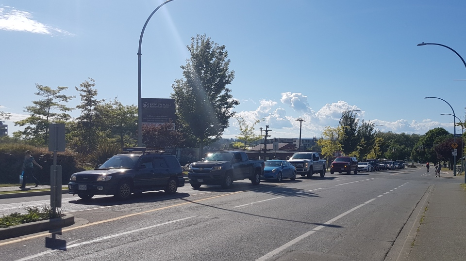 Traffic was once again backed up for about 1.8 kilometres on Esquimalt Road Wed., May 22, 2019. (CTV Vancouver Island)