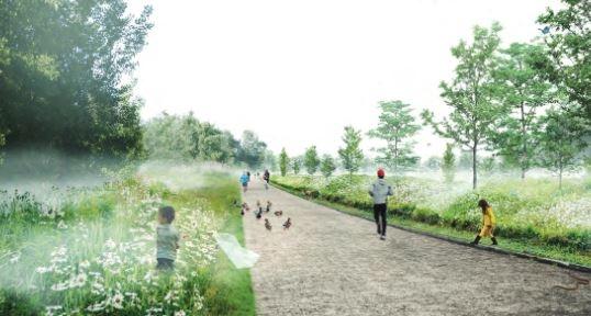 Mock-up of St-Laurent urban biodiversity corridor