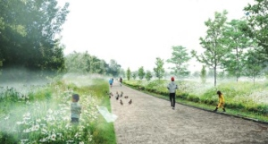Mock-up of St-Laurent's urban biodiversity corridor