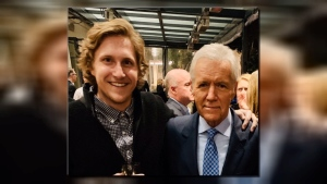 Former Victoria HarbourCats pitcher Ryan Keller with his boss and host of Jeopardy, Alex Trebek. (Ryan Keller)