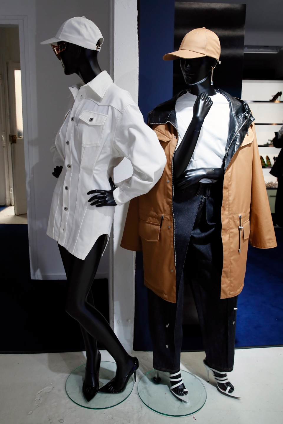 Designs are displayed as Rihanna unveils her first fashion designs for Fenty at a pop-up store in Paris, France, Wednesday, May 22, 2019. (AP Photo/Francois Mori)