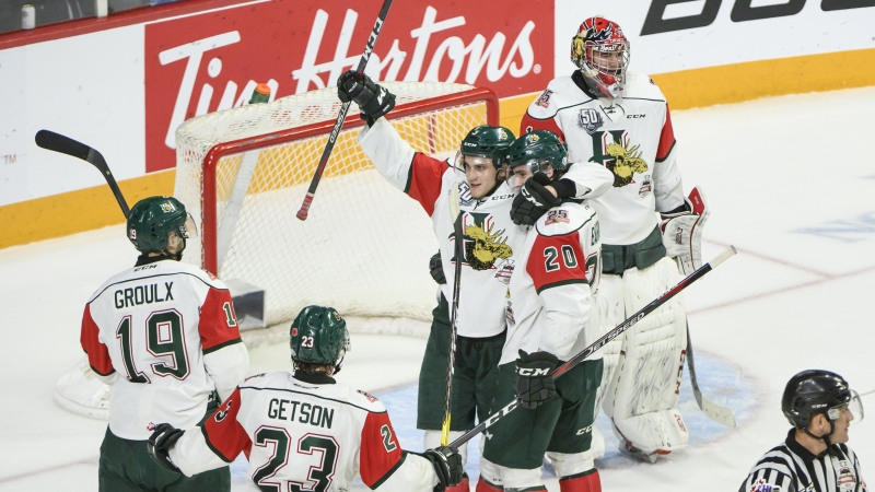 Members of the Halifax Mooseheads celebrate going to the Memorial Cup final despite a 4-3 loss to the Rouyn-Noranda Huskies during Memorial Cup hockey action in Halifax on Wednesday, May 22, 2019. (THE CANADIAN PRESS/Darren Calabrese)