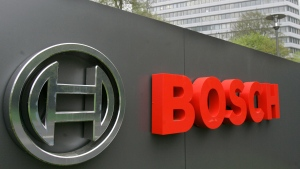 In this April 27, 2006 file photo, the logo of the Robert Bosch GmbH in front of the company's headquarters in Gerlingen near Stuttgart, southwestern Germany. (AP Photo/Thomas Kienzle, File)