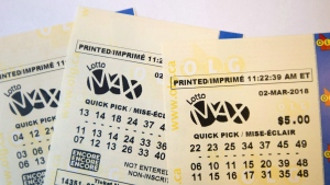 A Lotto Max ticket is shown in this undated file photo. (The Canadian Press)