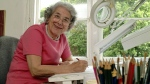 Judith Kerr in her working room in London, England, on May 23, 2003. (Daniel Sambraus / dpa via AP)