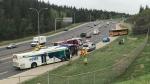 Emergency crews on scene at a school bus crash on May 23, 2019. (GALEN MCDOUGALL/CTV EDMONTON)