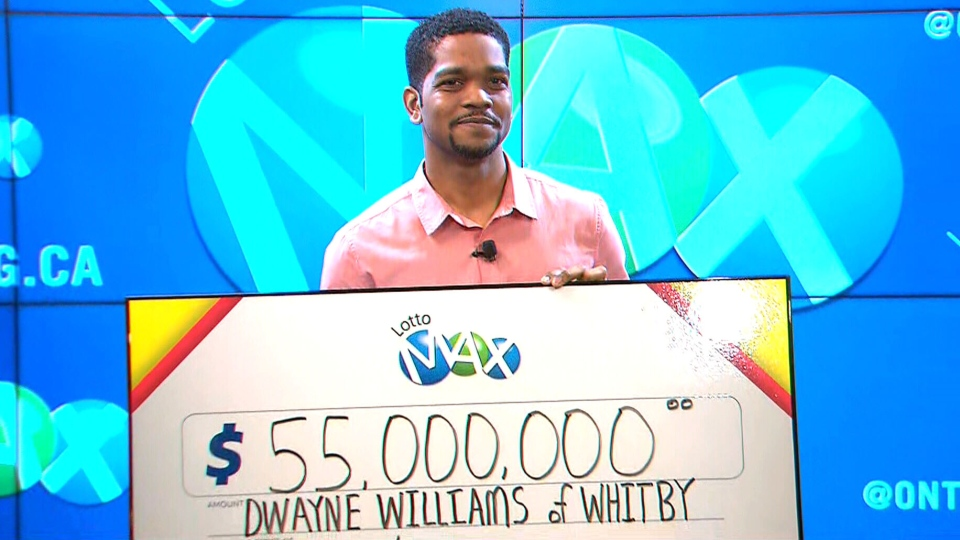 Thirty-five-year-old Dwayne Williams of Whitby, Ont. won $55M in the April 5 Lotto Max draw.
