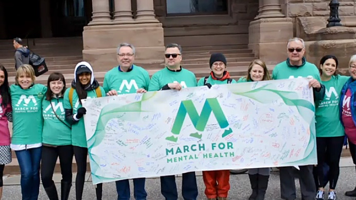 Courtney Taylor participates in March for Mental Health in Toronto, a demonstration she co-founded after years of struggling with her own mental health.