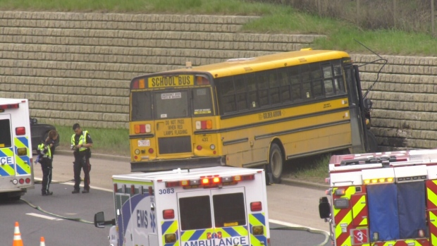School bus crash on Whitemud Drive
