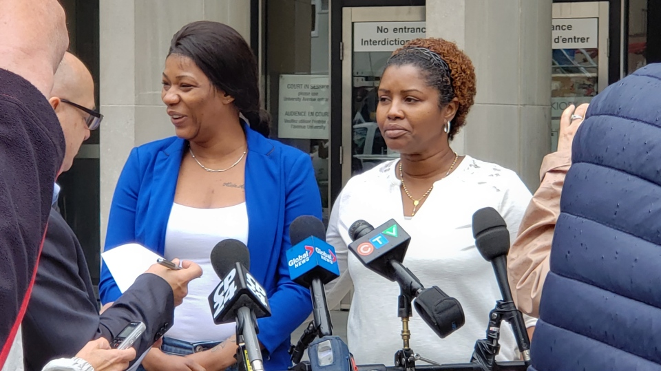 The mother and aunt of Jarryl Hagley speak to the media after three men were convicted in his murder on May 23, 2019. (Gilles Saindon/CTV News Toronto)
