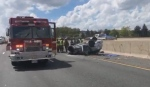 Emergency crews attend the scene of a collision on Highway 401 on May 32, 2019. (Twitter/@OPP_HSD)