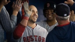 Boston Red Sox's Steve Pearce, centre, celebrates with teammates in the dugout after hitting a two run home run against the Toronto Blue Jays during ninth inning American League MLB baseball action in Toronto on Thursday, May 23, 2019. THE CANADIAN PRESS/Nathan Denette