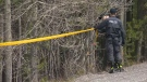 Police continue to search a wooded area near Waiparous where the body of Jeremy Boisseau was found last year.