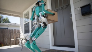 The Digit robot can deliver a parcel to the end client's home. (Courtesy of Ford)