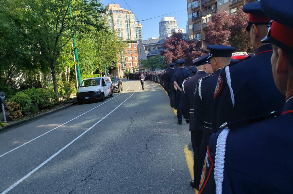 Funeral procession for Vancouver firefighter takes over downtown streets